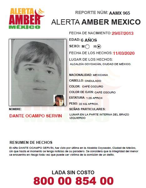 ACTUALIZACIÓN ALERTA AMBER DANTE OCAMPO SERVIN (CDMX)