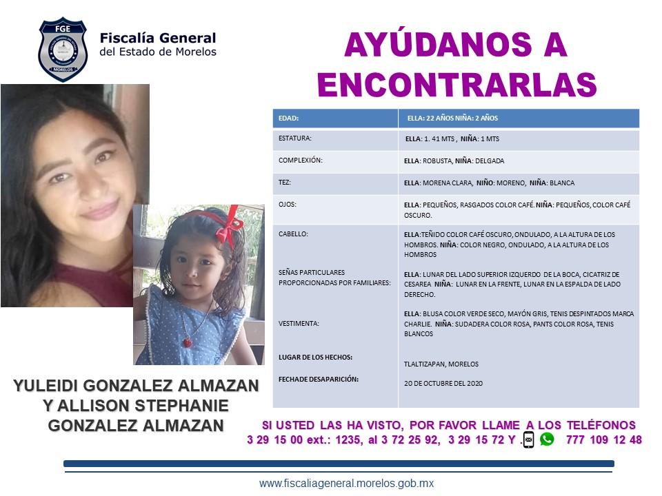 Yuleidi González Almazan y Allison Stephanie González Almazan