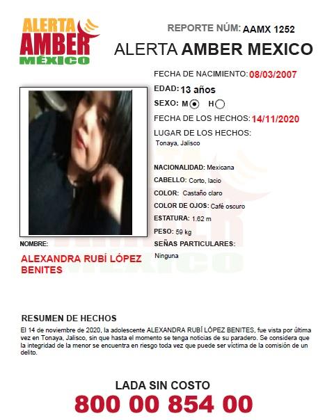 ALERTA AMBER ALEXANDRA RUBÍ LÓPEZ BENITES (JAL)