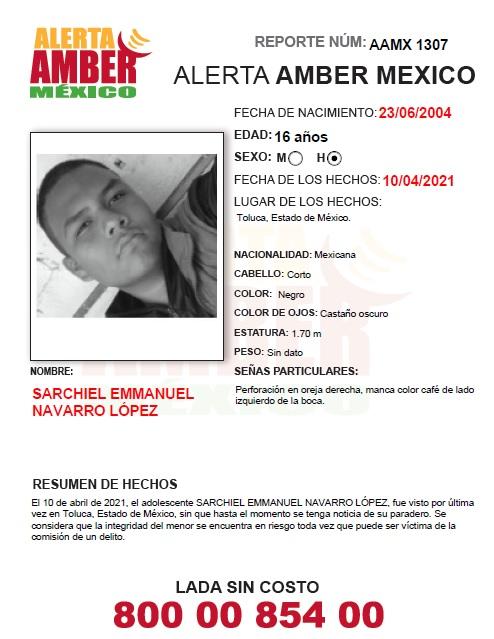 Alerta Amber Sarchiel Emmanuel Navarro Lopez